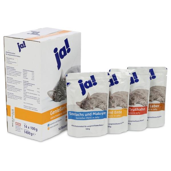 ja! Katzenfutter verschiedene Sorten in Jelly 14x100g