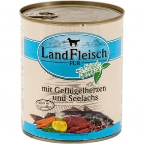 Landfleisch Dog Pur s drůbežími srdíčky a treskou tmavou