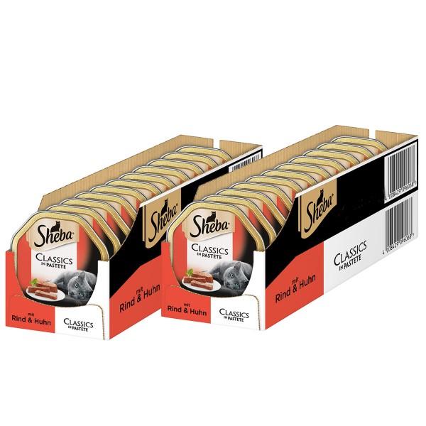 Sheba Katzenfutter Classics in Pastete mit Rind & Huhn 36+8 x85g gratis