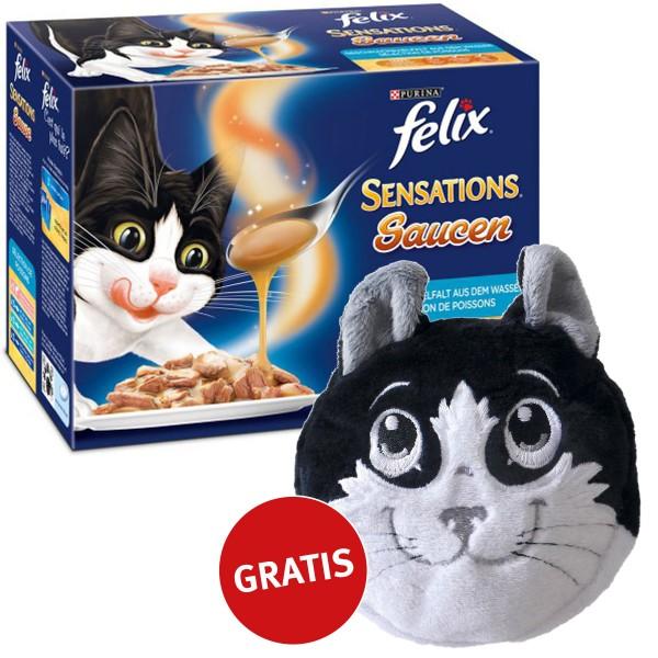 Felix Multipack Sensations Saucen Geschmacksvielfalt aus dem Wasser 48x100g plus gratis Katzenkissen