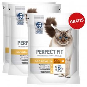 Perfect Fit Katzenfutter Sensitive 1 + reich an Truthahn 1,4kg 2+1 gratis