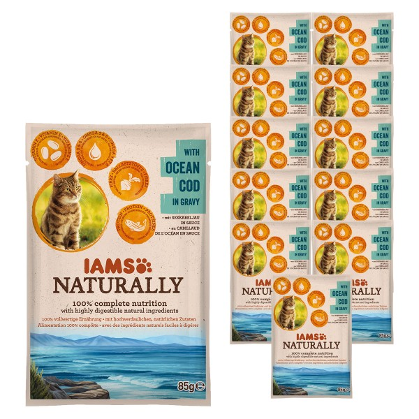 IAMS Naturally Katze Nassfutter Adult Kabeljau in Sauce