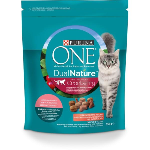 PURINA ONE Dual Nature Katzenfutter trocken für kastrierte Katzen Lachs mit Cranberry 750g