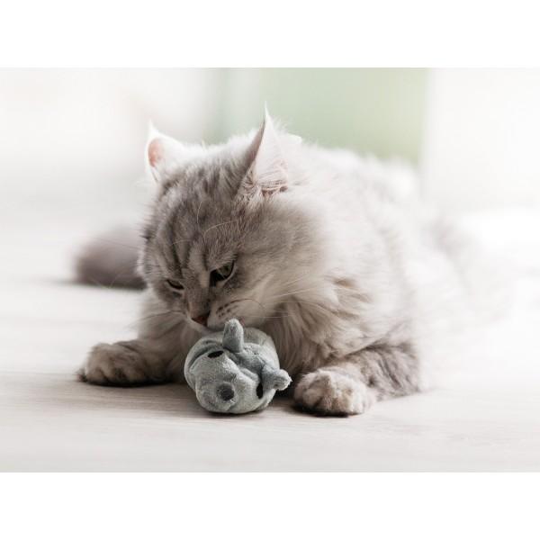 Aumüller Katzenspielzeug Baldi-Maus grau